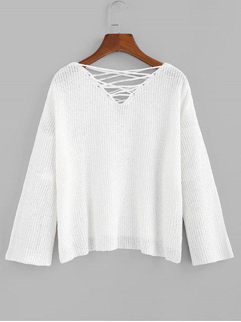 hot ZAFUL Criss Cross Slit Drop Shoulder Jumper Sweater - WHITE L Mobile