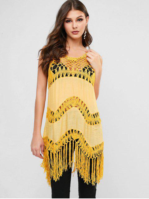 buy Crochet Panel Fringed Beach Top - SAFFRON ONE SIZE Mobile