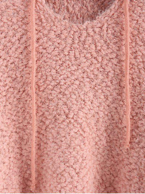 buy ZAFUL Popcorn Knit Hooded Fuzzy Sweater - LIGHT PINK S Mobile