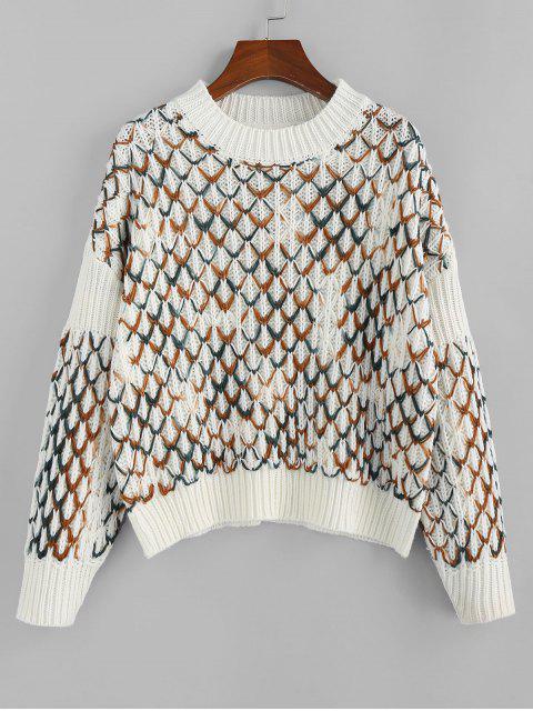 lady ZAFUL Argyle Drop Shoulder Jumper Sweater - MULTI S Mobile