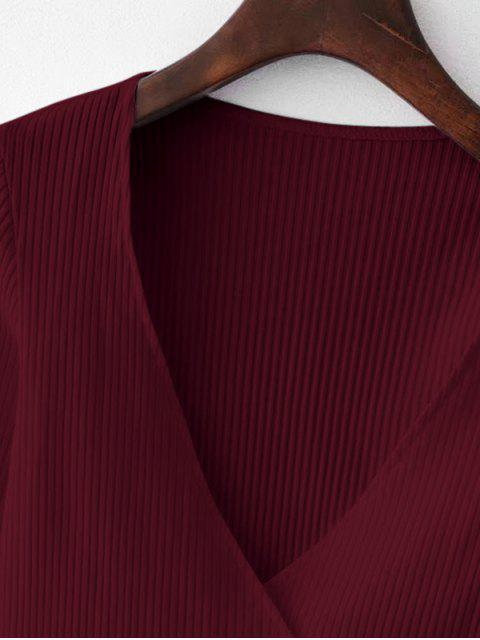 best Knitted Ribbed Wrap Top - RED WINE S Mobile
