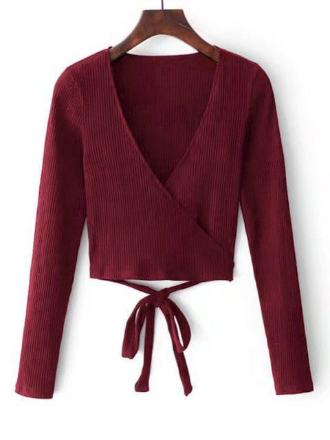 new Knitted Ribbed Wrap Top - RED WINE M Mobile