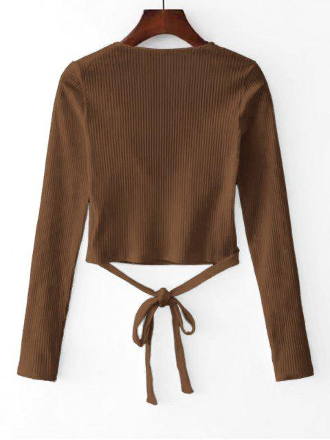 women Knitted Ribbed Wrap Top - BROWN M Mobile