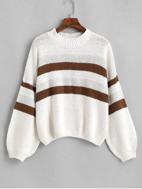 ladies Lantern Sleeve Stripes Pullover Sweater - WHITE ONE SIZE Mobile