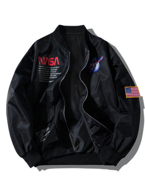trendy ZAFUL Letter Graphic Embroidery American Flag Applique Pocket Jacket - BLACK 2XL Mobile