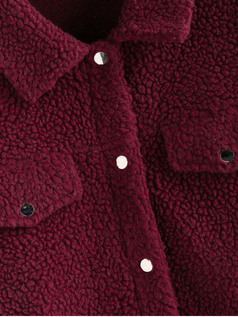 Hombro del botón ZAFUL gota abrigo de peluche - Vino Tinto XL Mobile