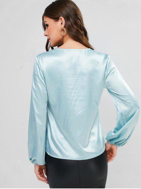 Camisa de cuello en V manga farol satinado - Aguamarina S Mobile