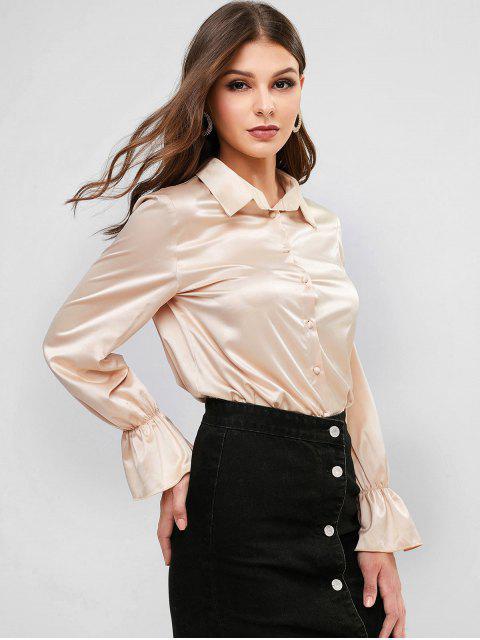 shop Plain Poet Sleeve Satin Shirt - CHAMPAGNE S Mobile