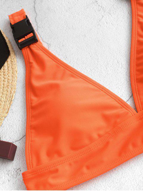 ZAFUL Maillot de Bain Tankini Néon Bouclé Plongeant à Coupe Haute - Orange L Mobile