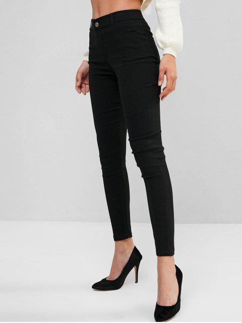 sale Solid Mid Rise Four Pockets Skinny Pants - BLACK S Mobile