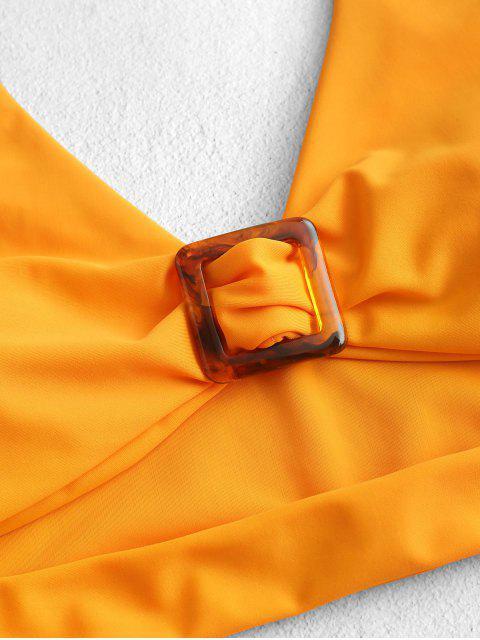 ZAFUL Plunge recorte High Cut Tankini del traje de baño - Azafrán L Mobile