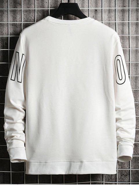 Sweat-shirt de Base Lettre Graphique Imprimée - Blanc Lait S Mobile