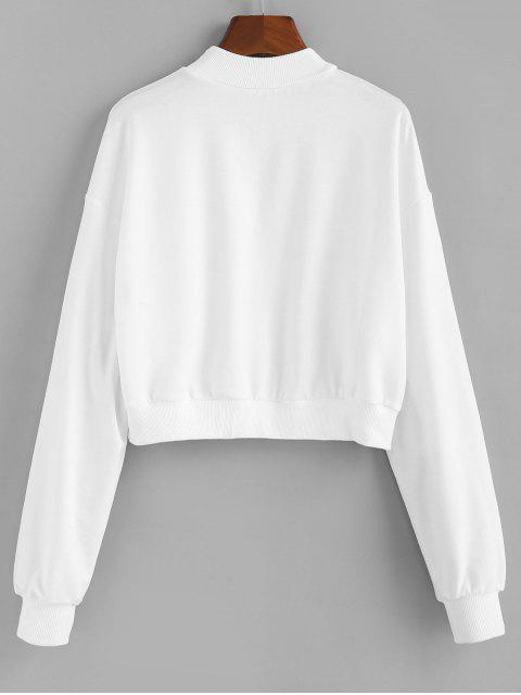 shop ZAFUL Letter Patched Crew Neck Crop Sweatshirt - WHITE M Mobile