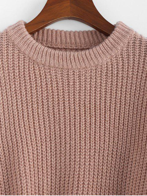 affordable ZAFUL Drop Shoulder Crew Neck Textured Sweater - ROSE S Mobile