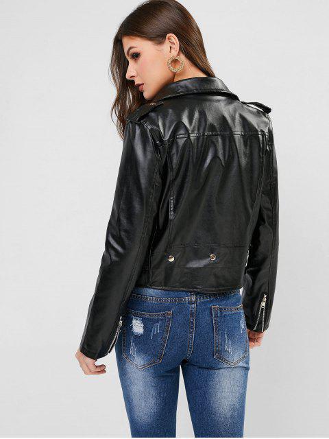 拉鍊口袋仿皮機車夾克 - 黑色 L Mobile