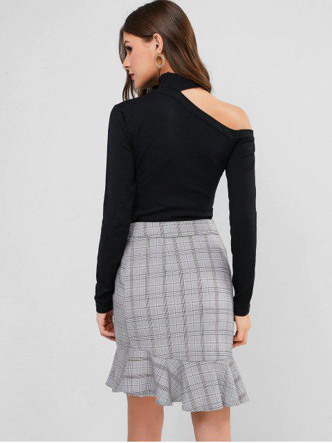 Cutout Pullover mit Mock Neck - Schwarz Eine Größe Mobile