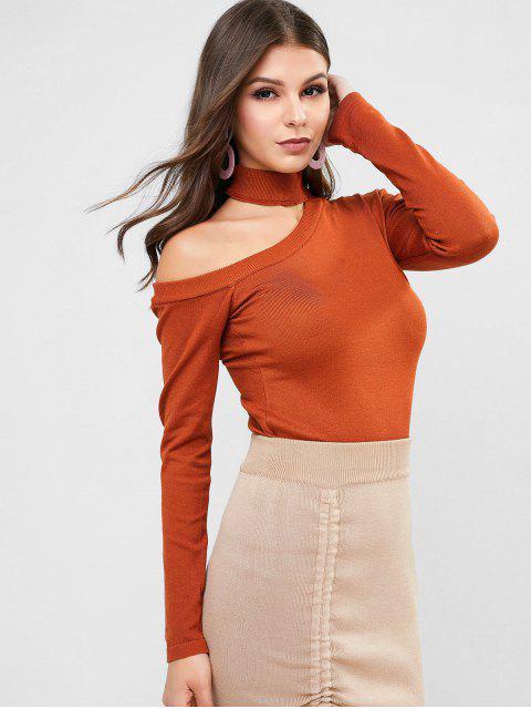 Cutout Pullover mit Mock Neck - Braun Eine Größe Mobile