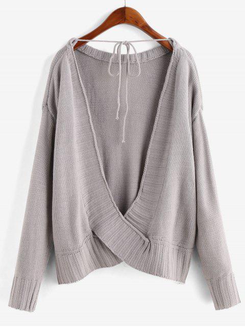 重疊反綁固體毛衣 - 灰色 M Mobile