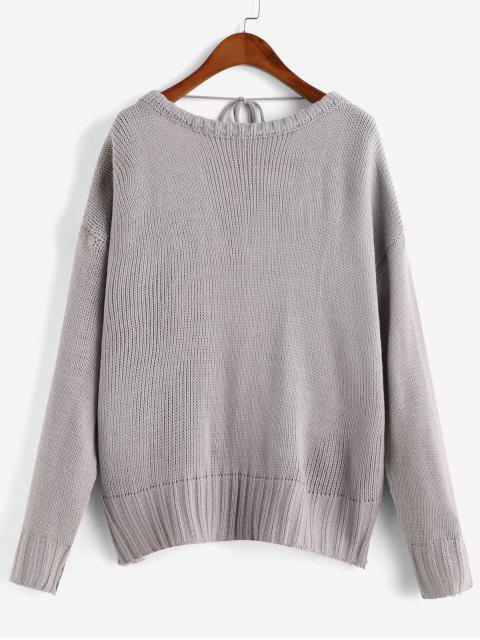 重疊反綁固體毛衣 - 灰色 L Mobile