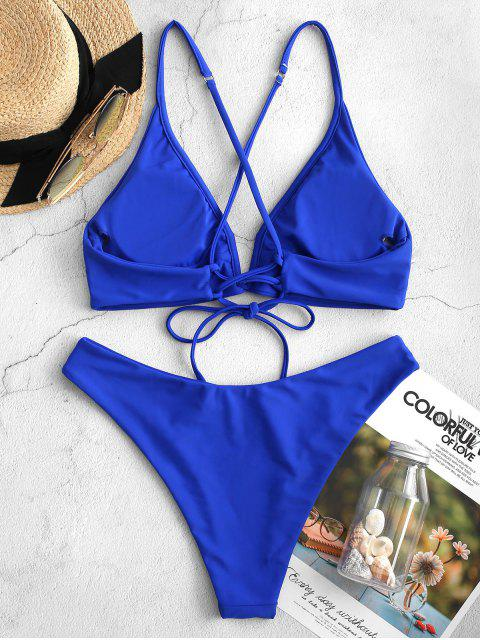 ZAFUL Neon V-Draht Kreuz High Cut-Bikini-Badeanzug - Blau M Mobile