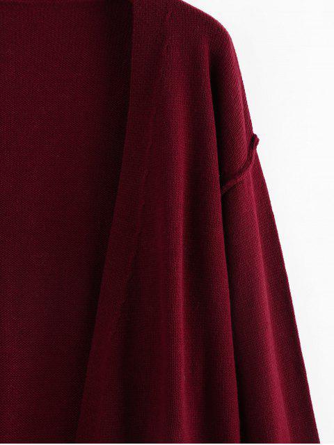 ZAFUL Fallschulter Taschen Langline Cardigan - Roter Wein M Mobile