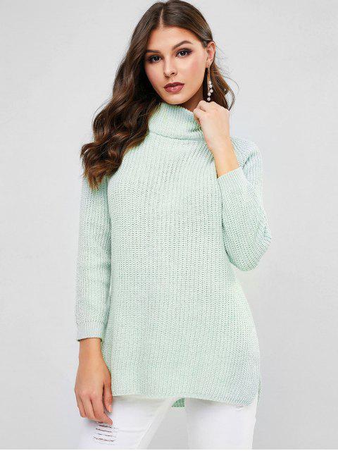 Hoher Niedriger Pullover mit Raglan Ärmel und Mock Neck - Grün Eine Größe Mobile