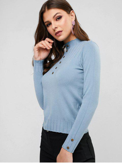 shops High Neck Plain Buttoned Slim Sweater - BLUE ONE SIZE Mobile