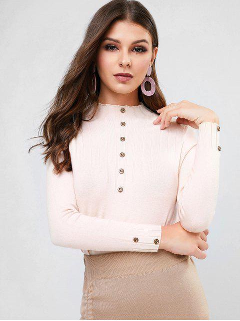 Stehkragen Einfacher Geknöpfter Dünner Pullover - Helles Khaki Eine Größe Mobile