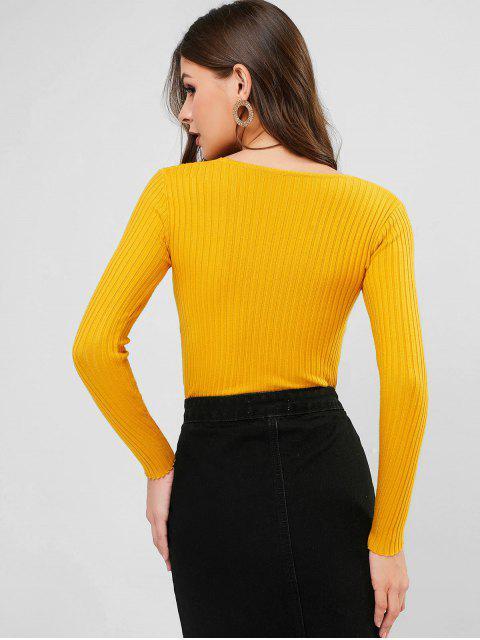 V Ausschnitt Gerippter Schmaler Pullover - Goldgelb Eine Größe Mobile