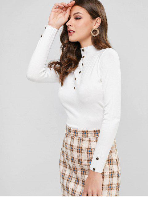 Stehkragen Einfacher Geknöpfter Dünner Pullover - Weiß Eine Größe Mobile