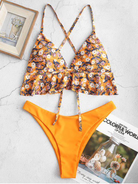 ZAFUL Blumenkreuz Volant High Cut-Bikini-Badeanzug - Helles Gelb S Mobile