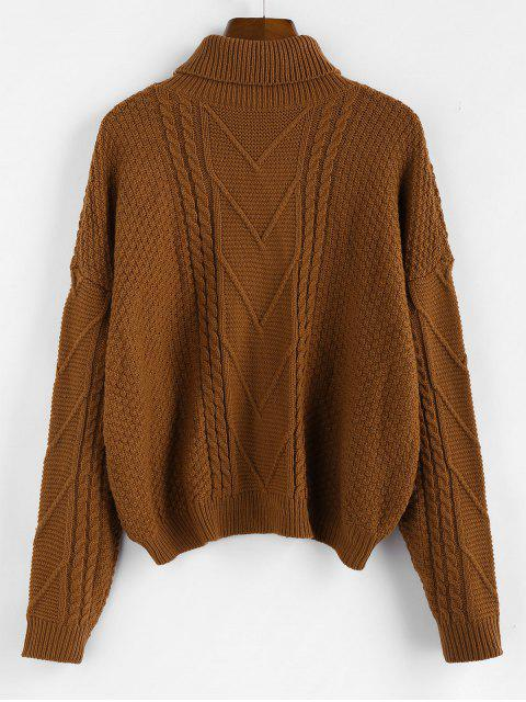 unique ZAFUL Drop Shoulder High Low Turtleneck Sweater - COFFEE S Mobile