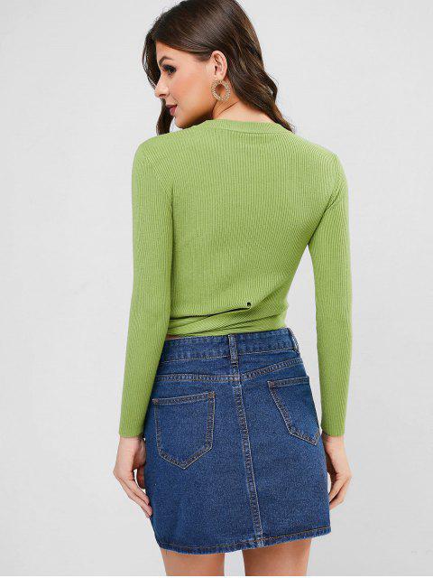 打結的圓領毛衣修身毛衣 - 綠色 One Size Mobile