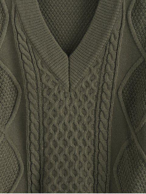 best ZAFUL V Neck Drop Shoulder Tie Back Sweater - GRAYISH TURQUOISE S Mobile