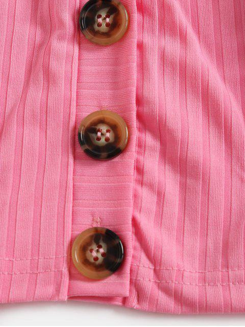 outfits Plunging Button Up Crop T-shirt - ROSE RED L Mobile