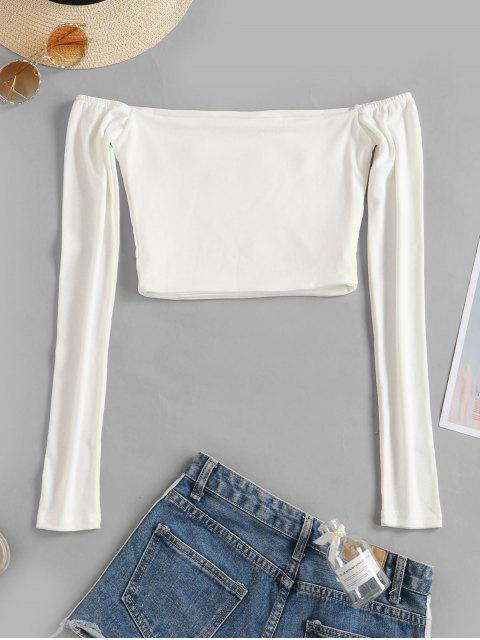 fashion Off Shoulder Embroidered Crop T-shirt - WHITE S Mobile