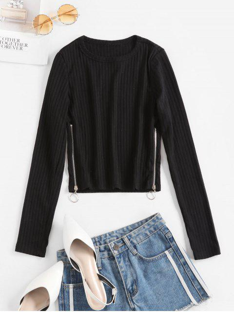 outfits Side Zipper Long Sleeve Ribbed Tee - BLACK L Mobile