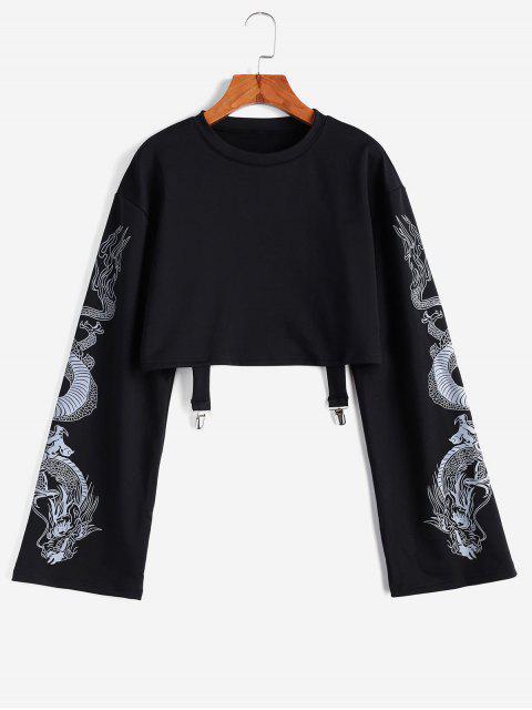 龍打印液滴肩剪裁外套 - 黑色 L Mobile