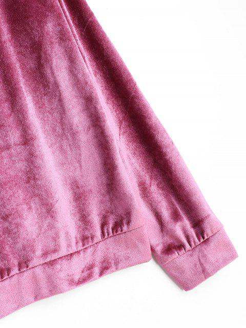 絲絨帶拉鍊連帽衫和緊身褲套裝 - 粉 S Mobile
