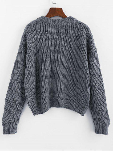 unique ZAFUL Pointelle Crew Neck Drop Shoulder Sweater - BLUE GRAY M Mobile