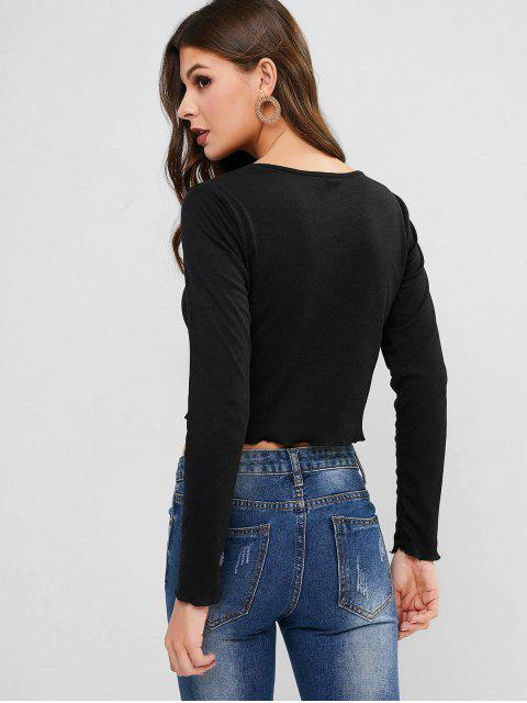 ladies Long Sleeve Angel Embroidered Ribbed Tee - BLACK S Mobile