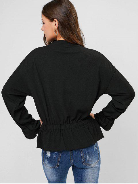latest Ruffle Hem Solid Long Sleeves Blouse - BLACK S Mobile