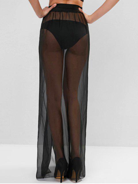 fancy Sheer Tie Maxi Wrap Skirt - BLACK ONE SIZE Mobile