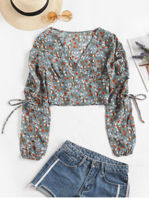 chic V Neck Floral Cinched Sleeve Blouse - MULTI M Mobile