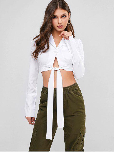 lady Lapel Chest Pocket One Button Knot Blouse - WHITE M Mobile