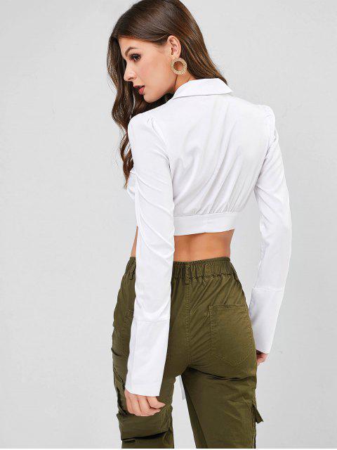 women's Lapel Chest Pocket One Button Knot Blouse - WHITE L Mobile