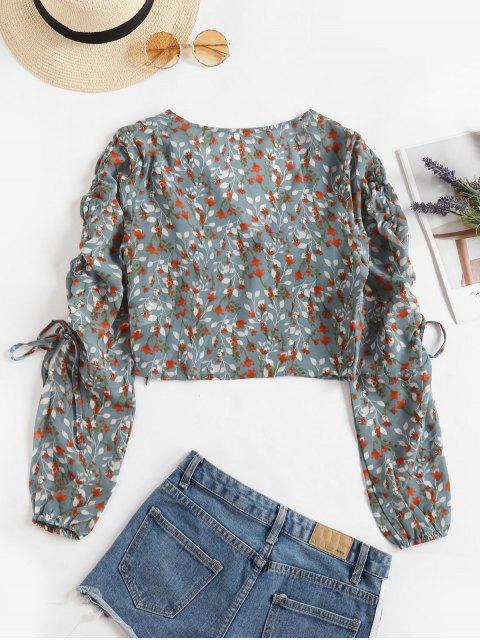 outfits V Neck Floral Cinched Sleeve Blouse - MULTI S Mobile
