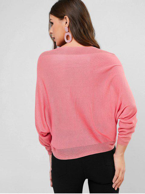 lady Batwing Sleeve Distressed V Neck Sweater - PINK ONE SIZE Mobile