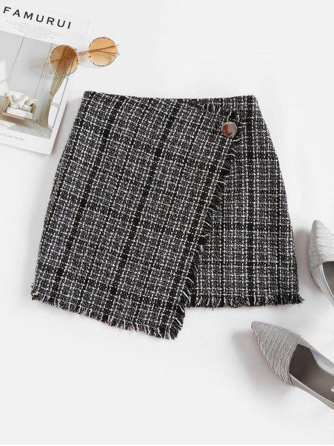shop ZAFUL Tweed Faux Wrap Skirt - BLACK S Mobile