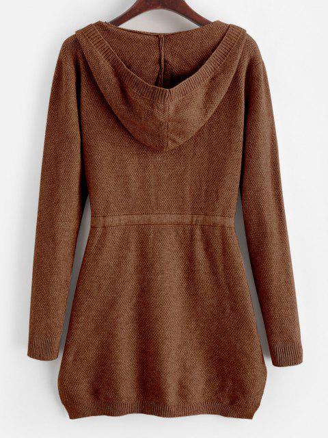 buy Longline Hooded Drawstring Pockets Cardigan - CHESTNUT ONE SIZE Mobile